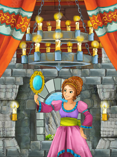 cartoon scene with beautiful girl - princess in castle room - illustration for children - 217723032
