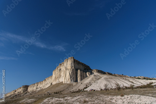 Foto Spatwand Cappuccino White rock in the Crimea against the blue sky