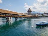 Kapellbridge in Lucerne with boat