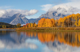 Scenic Reflection Landscape of the Tetons in Autumn - 217733050