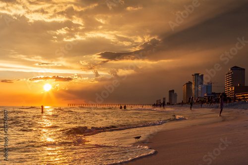 Canvas Zee zonsondergang Beautiful Sunset by the ocean