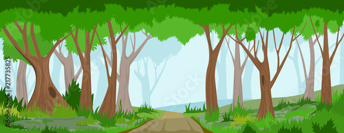 Summer forest with road - 217735825