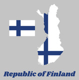 Map outline and flag of Finland, Sea blue Nordic cross on white field, with name text Republic of Finland. - 217740229