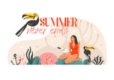 Hand drawn vector abstract cartoon summer time graphic illustration template card with girl,toucan birds on beach scene and modern typography Summer never ends isolated on white background - 217741623