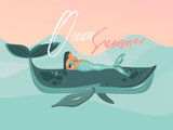 Hand drawn vector abstract cartoon summer time graphic illustrations template card with mermaid girl,whale on blue waves and modern typography Ocean Summer isolated on pink sunset background - 217741656