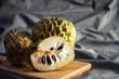 Organic Custard Apple Fruits on Wood Plate