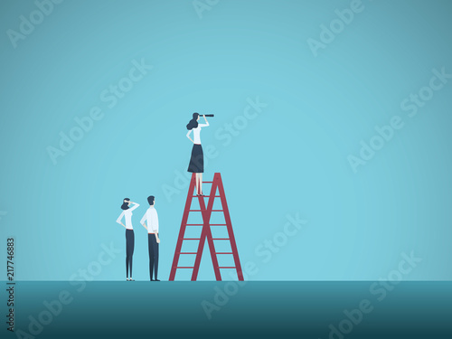 Business Woman Visionary And Team Leader Vector Concept Symbol Of