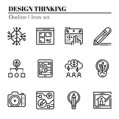 The 3rd design thinking icon set. The icon are outline. Illustration © wsookruay