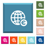 Online Euro payment white icons on edged square buttons - 217751230