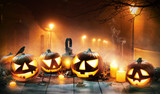 Scary horror background with halloween pumpkins jack o lantern - 217752225