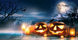 Scary horror background with halloween pumpkins jack o lantern - 217752278