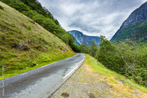 Canvas Zomer Road in Norwegian mountains