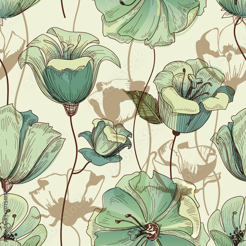 Floral seamless pattern. Lily design - 217754897