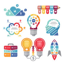 Infographics Concepts  Various Shapes Bulb Rocket Business Case And Profile Of Head Sticker