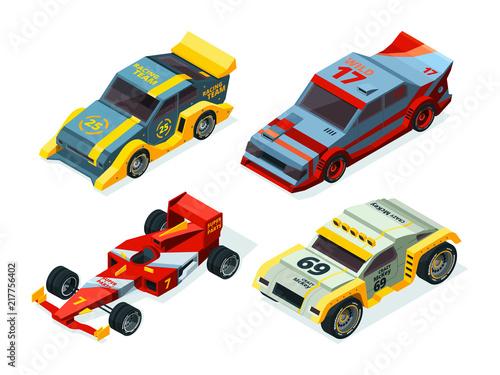 Race car set. 3D racing cars. Isometric sport pictures - 217756402