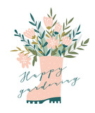 Cute bouquet  in pink rubber boots. Spring romantic card with stylish calligraphy - 'Happy gardening'. Garden hand drawn design. - 217766454