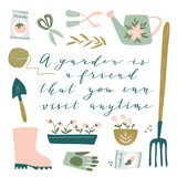 Garden tool set. Vector illustration of gardening elements:  spade, pitchfork, wheelbarrow, plants, watering can, grass, flowers, garden gloves and cute calligraphy. Happy gardening poster design. - 217766634