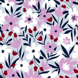 Trendy seamless floral ditsy pattern. Fabric design with simple flowers. Vector cute repeated pattern for baby fabric, wallpaper or wrap paper. - 217766673