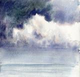 Watercolor Dark Sky and Cloud - 217767494