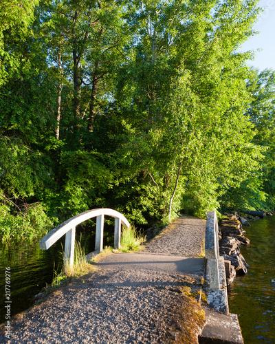 Obraz na płótnie Small bridge at lakeside park summer sunset
