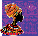 Portrait of African Woman in Ethnic Turban