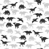 Dinosaur silhouette monochrome seamless pattern. Vector hand drawn illustration. - 217778484