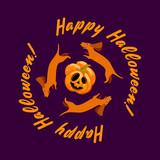 Three dachshunds running around a scared pumpkin. Happy Halloween Inscription. Poster, postcard, stand.. Vector