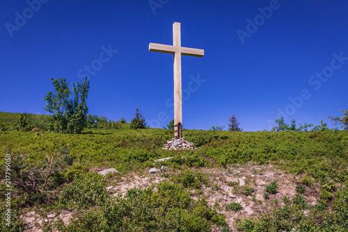 Cross on the mountain pass Bukowska in Bieszczady National Park, Subcarpathian Voivodeship of Poland