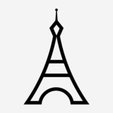 Outline Eiffel tower pixel perfect vector icon