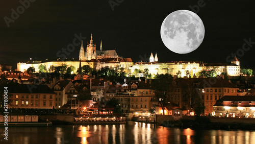 Wall mural The night view of the beautiful Prague City