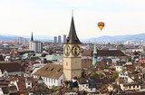 The aerial view of Zurich cityscape