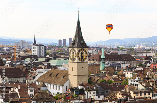 Foto Murales The aerial view of Zurich cityscape