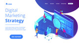 Isometric team of specialists working on digital marketing strategy landing page. Digital marketing, digital technologies concept. Blue violet background. Vector 3d isometric illustration. - 217808250