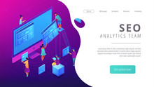 Isometric Seo Specialists Working  Web Pages And Charts Landing Page Seo Analysis And Optimization Digital Marketing Strategy Concept Ultra Violet   3d Isometric Illustration Sticker