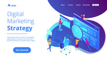 Isometric Team Of Specialists Working On Digital Marketing Strategy Landing Page Digital Marketing Digital Technologies Concept Blue Violet   3d Isometric Illustration Sticker