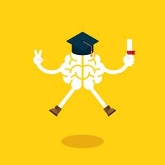 A brain celebrate graduation by jumping around © natcha29