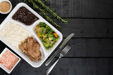 Packed lunch – beef, broccoli and carrot baked with sesame, white rice and black beans - 217809485