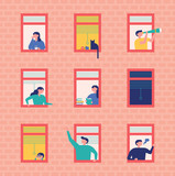 Neighbors looking through the window. flat design style vector graphic illustration set - 217812476