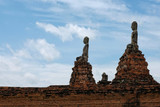 A ruined of buddhism temple and buddha statue in Ayutthaya Kingdom Thailand or Wat Chai Wattanaram