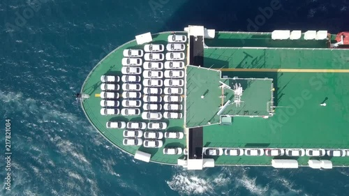 Fridge magnet Aerial footage of a Large RoRo (Roll on/off) Vehicle carrie vessel cruising the Mediterranean sea