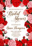 Bridal shower invitation card with flower frame