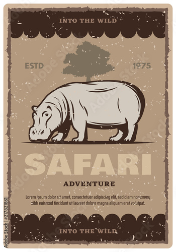 African safari tour vintage banner with hippo