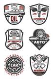 Car repair shop and auto service vintage badges