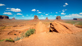 Panorama of Monument valley in Arizona desert/