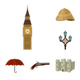 England country cartoon icons in set collection for design.Travel and attractions vector symbol stock web illustration. - 217827201