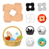 Charity and donation cartoon,black,flat,monochrome,outline icons in set collection for design. Material aid vector symbol stock web illustration.