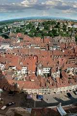The old rooftops and the river Aare which runs through the center of Bern, capital city of Switzerland. © neil