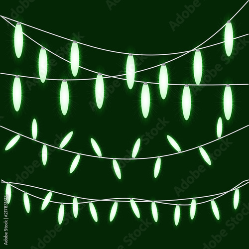 bright green christmas lights isolated design elements glowing string lights for party holiday