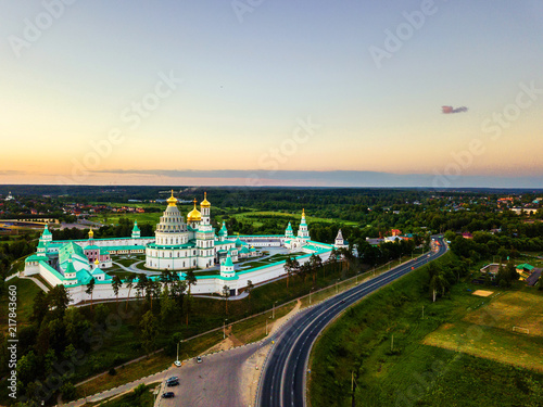 New Jerusalem Monastery in Istra, Russia. Aerial view of famous landmark