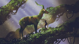 young hiker found giant deer statue covered with moss and lichen while traveling in the forest, digital art style, illustration painting - 217844022